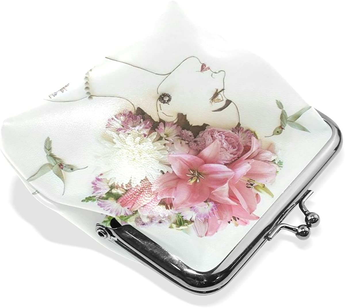 Leather Coin Purse Clutch Pouch Handbag with Creative Woman And Flowers Pattern Wallet/for Women Girls Students
