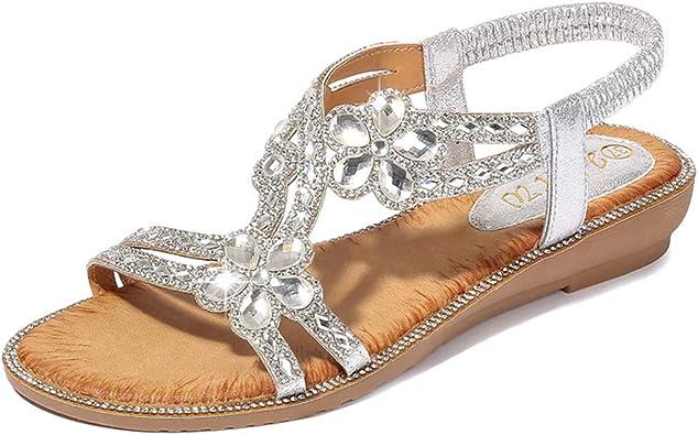 Tomwell Sandales Femmes Plates Chaussures Été Semelle