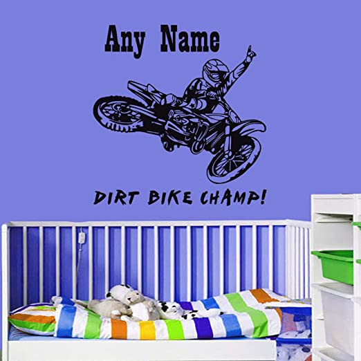 jiuyaomai Motocicleta Pegatinas de Pared Dirt Bike Champ Nombre ...
