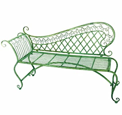 Surprising Garden Lounge Bench 35 High Wrought Iron Antique Green Rustic Finish Ibusinesslaw Wood Chair Design Ideas Ibusinesslaworg