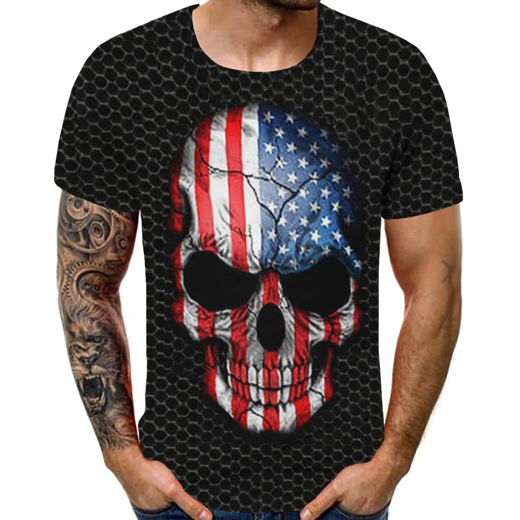 Holzkary USA Independence Day Mens 3D Creative Print Short Sleeve Tee Casual Summer Graphic T-Shirts Tops S-2XL