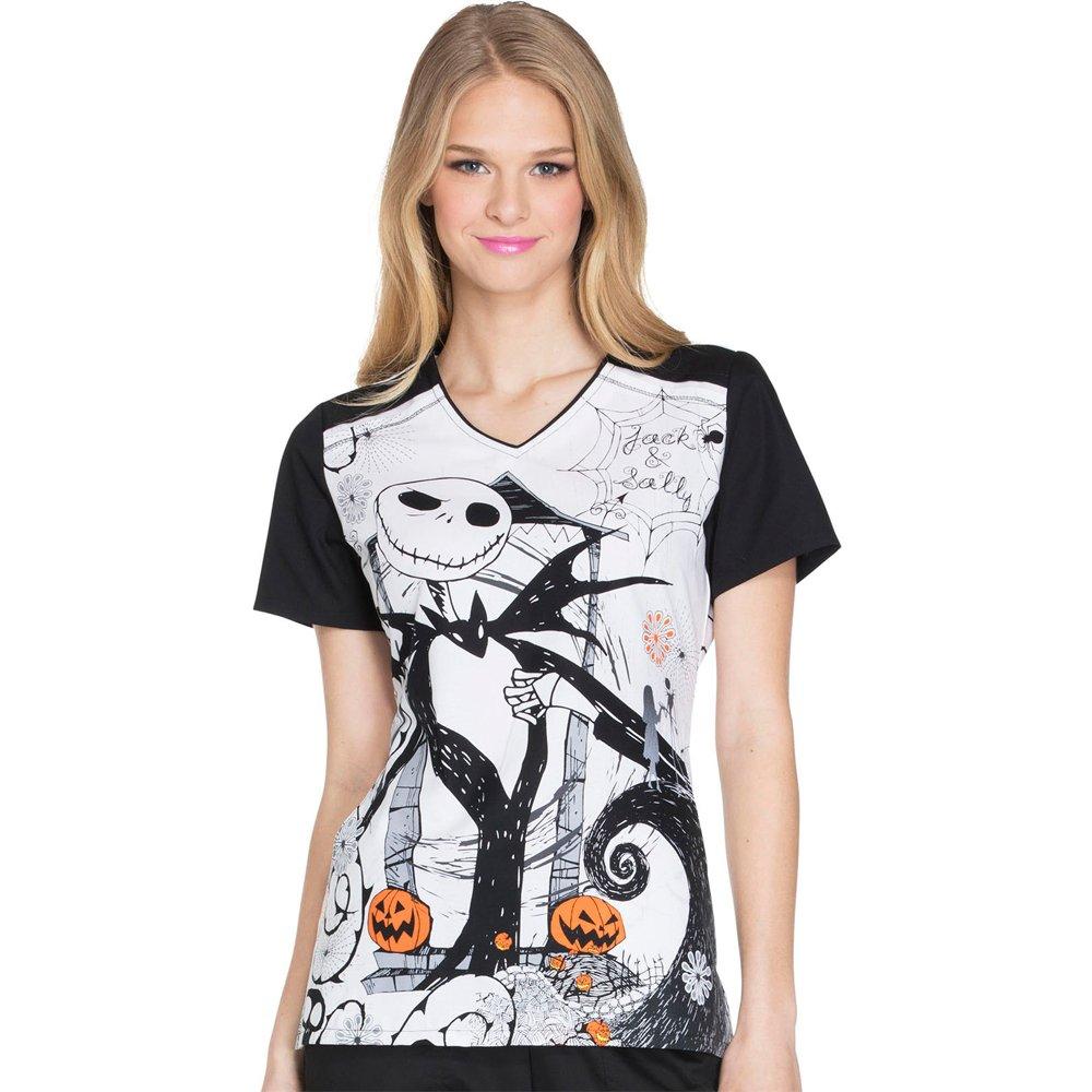 Cherokee Tooniforms Women's Nightmare Before Christmas Halloween Scrub Top (X-Large)