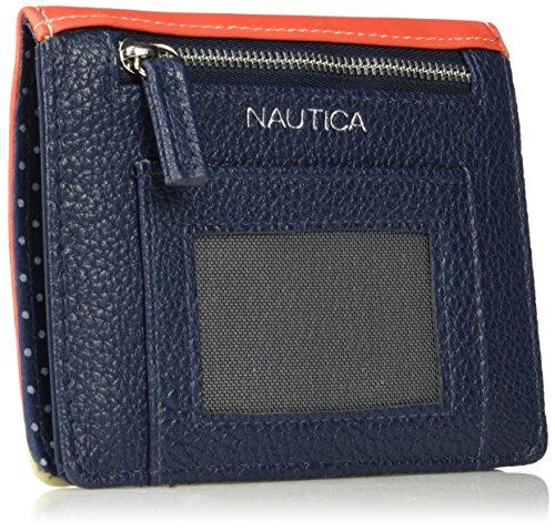 61VgWEnmg5L - Nautica Pier 83 RFID Deluxe Passport Travel Wallet, chili print/indigo