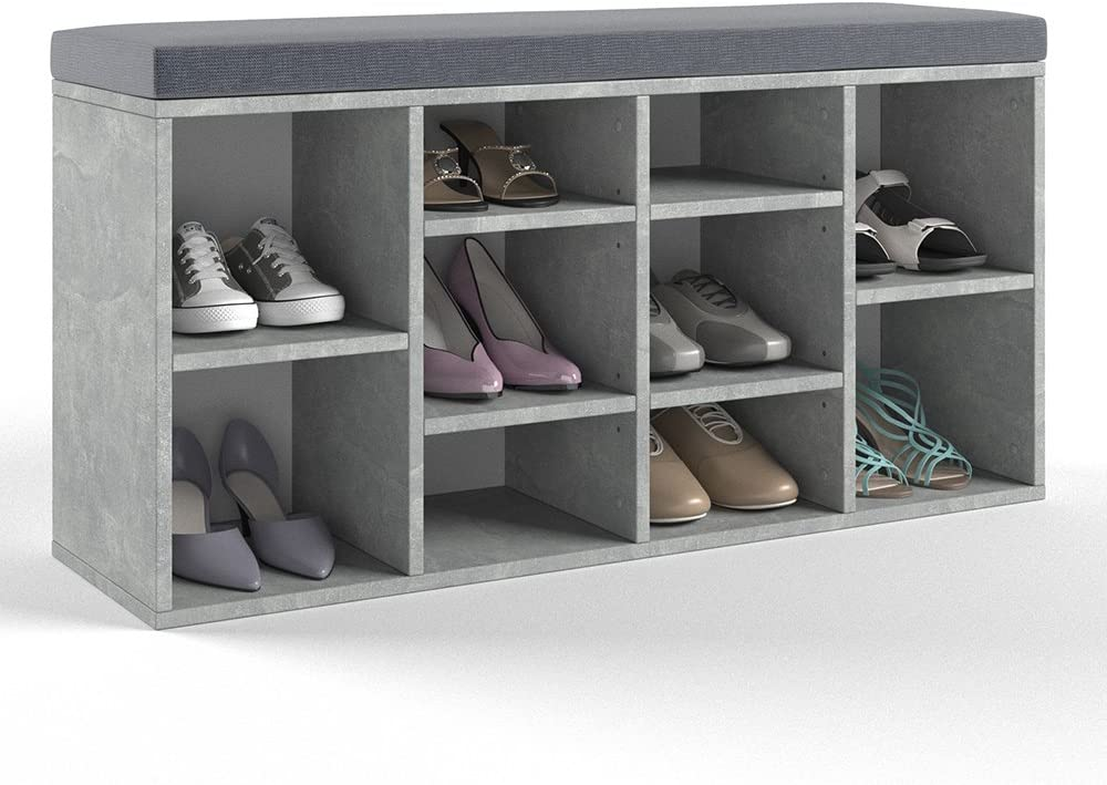 BxHxT OSKAR VICCO Schuhschrank 10 Schuhe Schuhbank Schrank Bank Schuhregal Regal Auflage Sitzbank - inkl 104x53,4x30cm Sitzauflage Anthrazit Beton