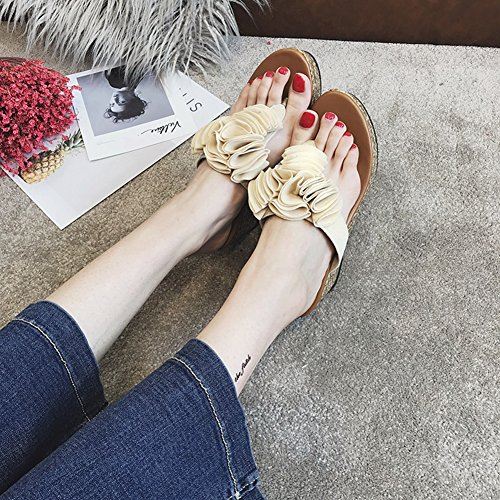 Ladies Womens JULY Summer Sandals Beach Flower Beige High Heel Fashion Wedge Flops Slippers Flip T wECq5dxC