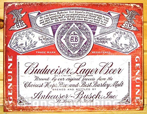 ShopForAllYou Vintage Decor Signs Budweiser Lager VTG Bottle Label TIN Sign Bud Beer bar Metal Wall Decor ad 1751 (Budweiser Tin Sign Label)