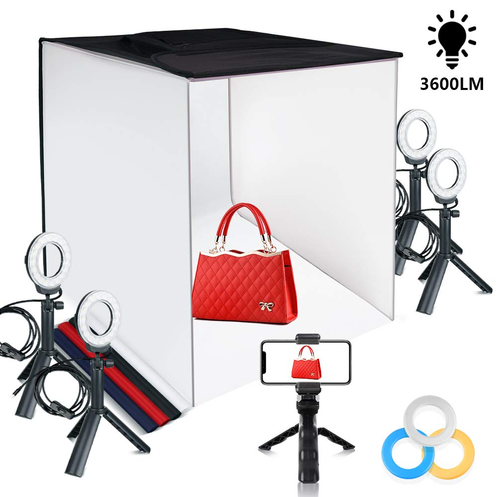 Photo Light Box TRAVOR Portable 24''x24'' Photography Studio Box Shooting Tent Kit with 4 Color Backdrops, 12 Filters and Phone Holder for Photography Product