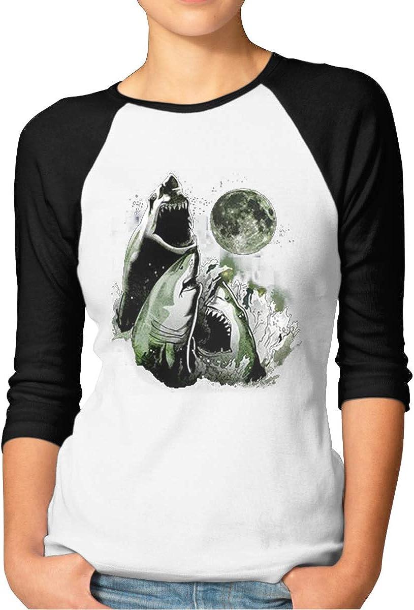 Girl's 3 Shark Moon Women's Raglan Sleeves Baseball T-Shirts Tee Black