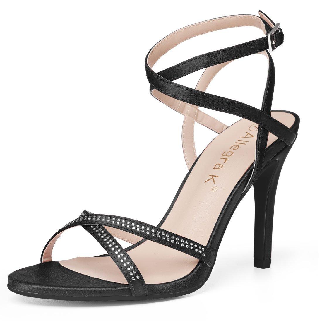 Allegra K Women's Rhinestone Stiletto Heel Black Sandals - 10 M US