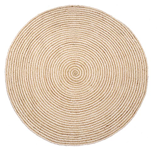 HF by LT Valencia Collection Round Area Rug, 5', Durable and Sustainable Chindi and Jute, Reversible, Natural, Five Colors Available