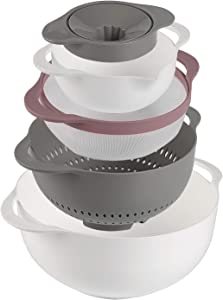 5 Piece Mixing Bowl Set - Stackable Kitchen Nesting Bowls, BPA-free Sieve Strainer Colander Plastic Bowls for Salad Mixing Cooking Baking Food Prep