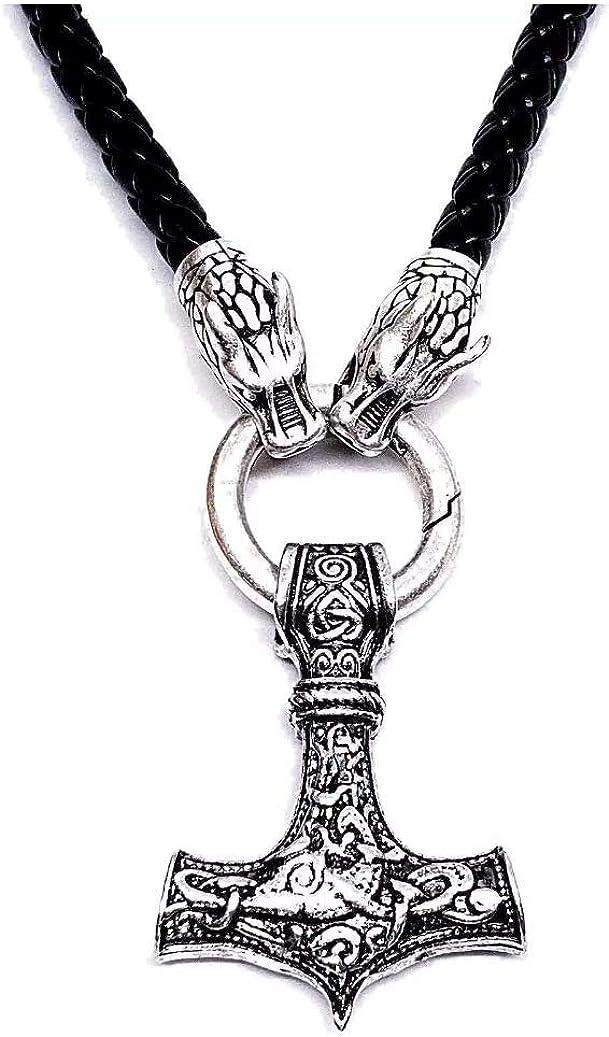 Collier avec cordon et pochette cadeau Motif marteau de Thor Viking Odin