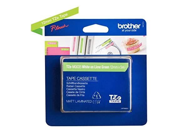 Amazon.com: Brother TZe-MQG35 White on Lime Green Label Tape, BRTTZEMQG35: Office Products