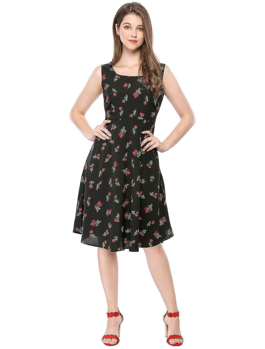 67010744fd352 Allegra K Vestido Midi Vintage Sin Mangas con Estampado De Cerezas para  Mujer  Amazon.es  Ropa y accesorios
