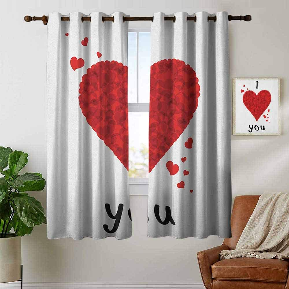 Kitchen Curtains I Love You Valentines Bouquet Shape Abstract Heart My Dear Friendship Affection Theme Red White Rod Pocket Drapes Thermal Insulated Panels Home Décor 42 X54 Amazon Co Uk Kitchen Home