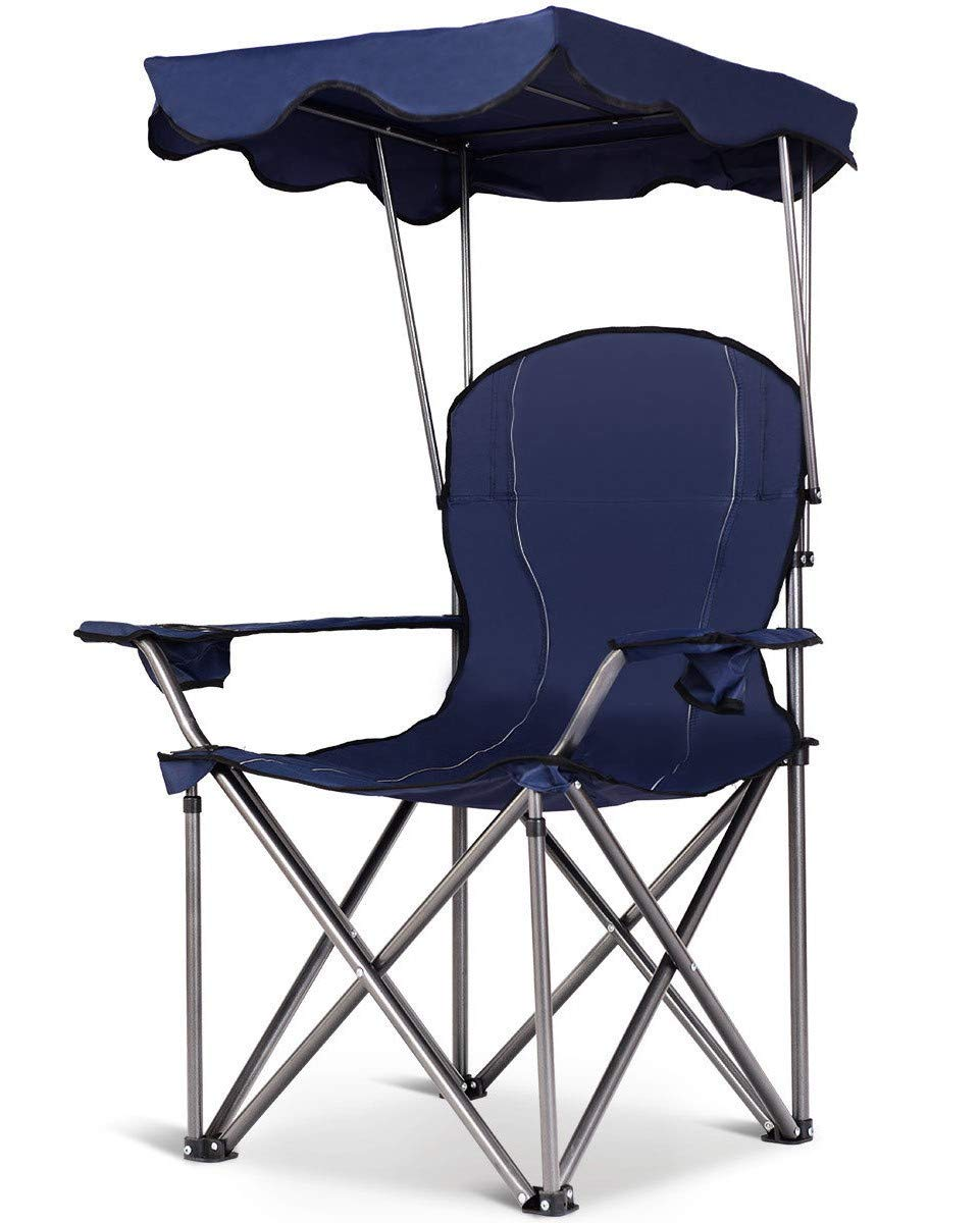 417ff9f0fc Amazon.com : Blue Folding Beach Canopy Chair Fishing Camping Chair ...