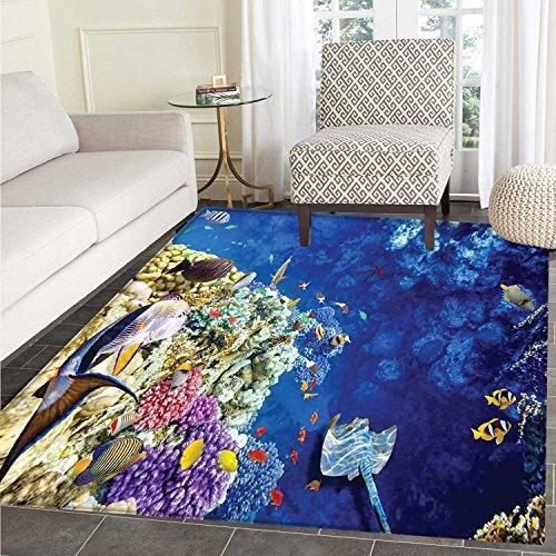 Ocean Floor Mat Pattern Untouched Wild Aquatic World Corals Exotic Fishes Stingray Seascape Living Dinning Room & Bedroom Mats 5