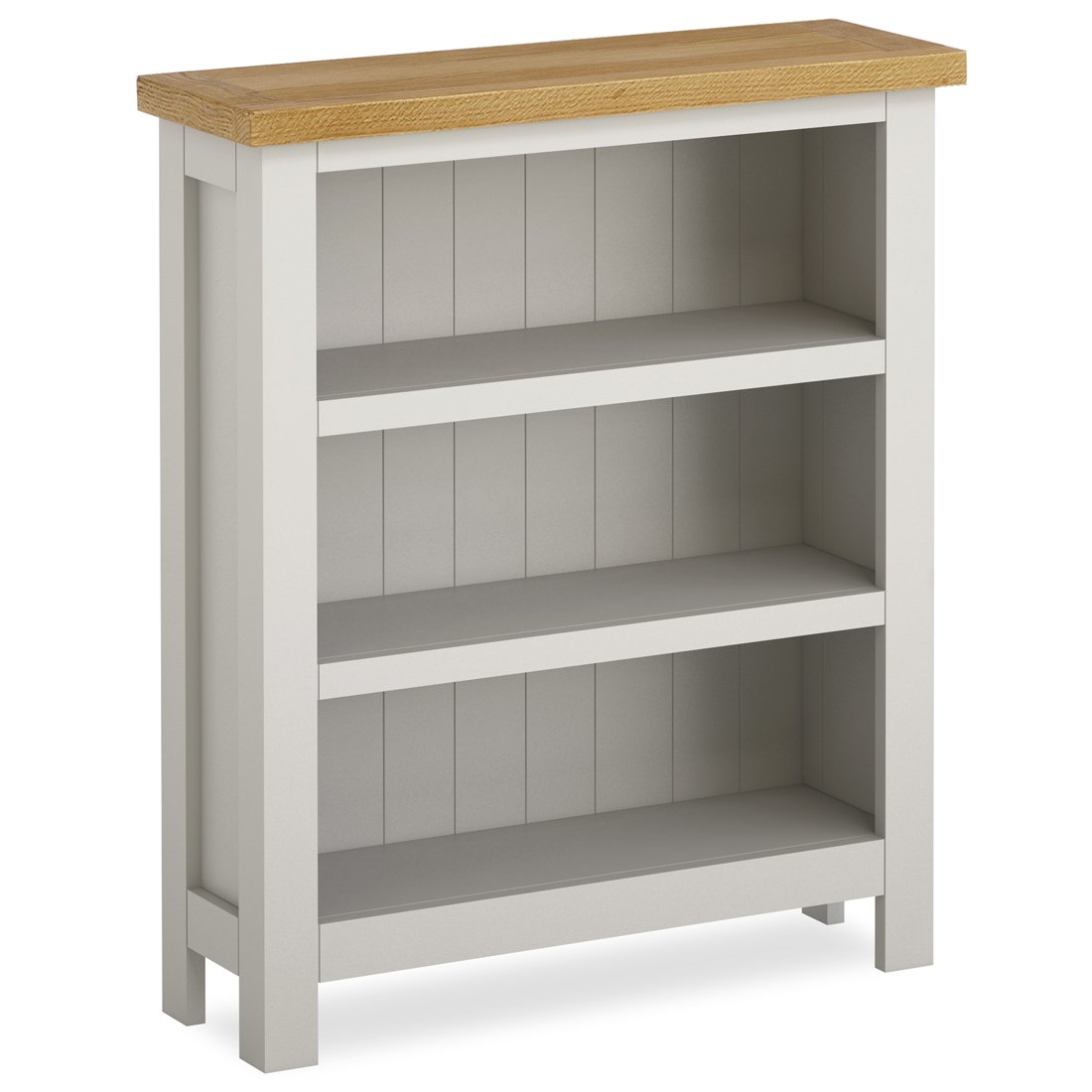 Farrow Grey Painted Low Bookcase - Small Bookshelf Roseland Furniture