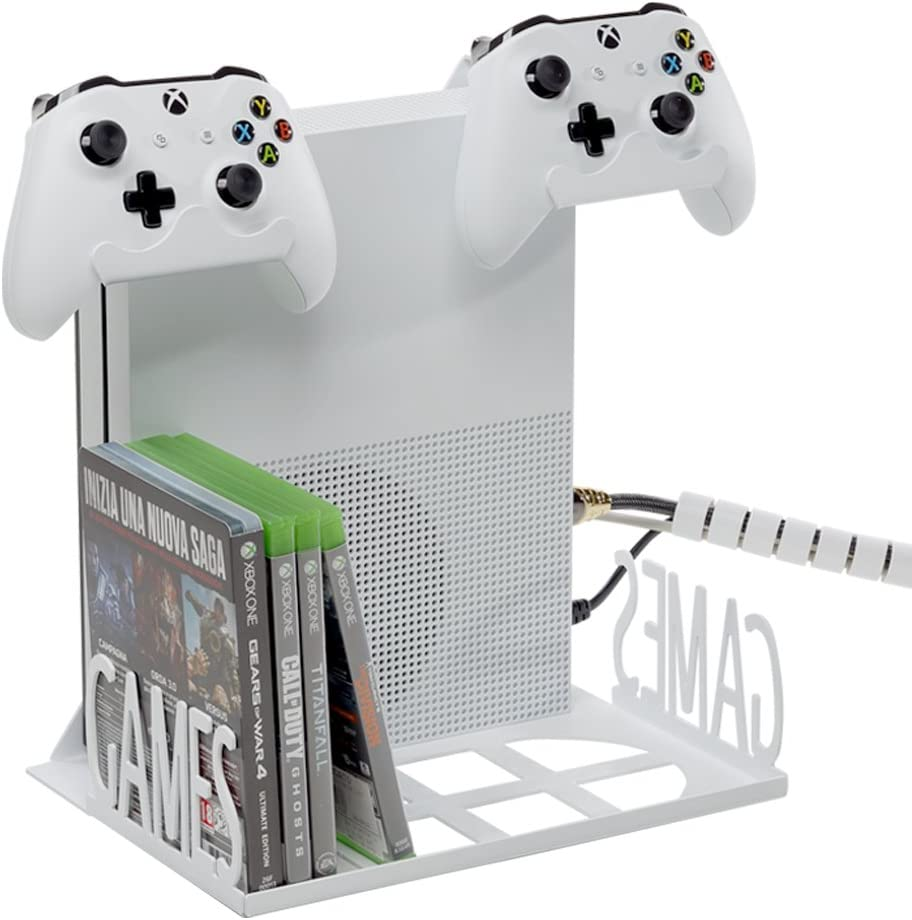 GameSpiderSwap Xbox One S es el soporte de pared y/o el organizador de escritorio con ventiladores | Puede colocar la consola y tener espacio para 16 juegos 2 mandos | Blanco: Amazon.es: Electrónica