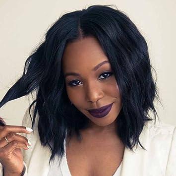 c2887d727 Amazon.com : Doren U Part Wig Human Hair Wave Bob Wigs for Black Women 1x4  Opening Size Natural Black Short Wavy Brazilian Virgin Hair 130% Density 10  ...