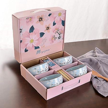 Servicio de mesa Juego de tazón, cereal de porcelana Tazones Desayuno Cena Postre (4 tazones) Para servir Ensalada/Ramen/Fruta, lavavajillas Horno de microondas Horno Uso seguro-4: Amazon.es: Hogar