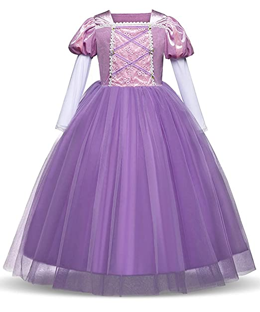 2301328cec3a8 Amazon.com  LENSEN Tech Princess Rapunzel Dress Cosplay Party Long Sleeve  Costume  Clothing