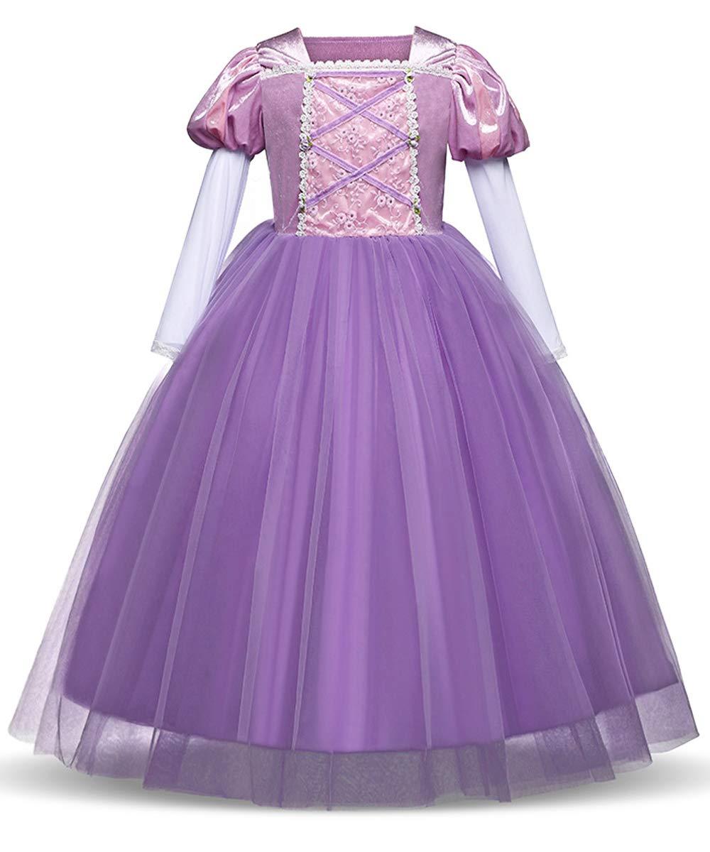 Eshiree Princess Rapunzel Dress Cosplay Party Long Sleeve Costume (Purple, 6)