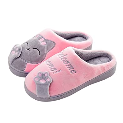 a8a3c939ccb00 FinancePlan Couples Kitty Home Slippers Women Men Winter Plush Warm House  Mule Slipper Pink