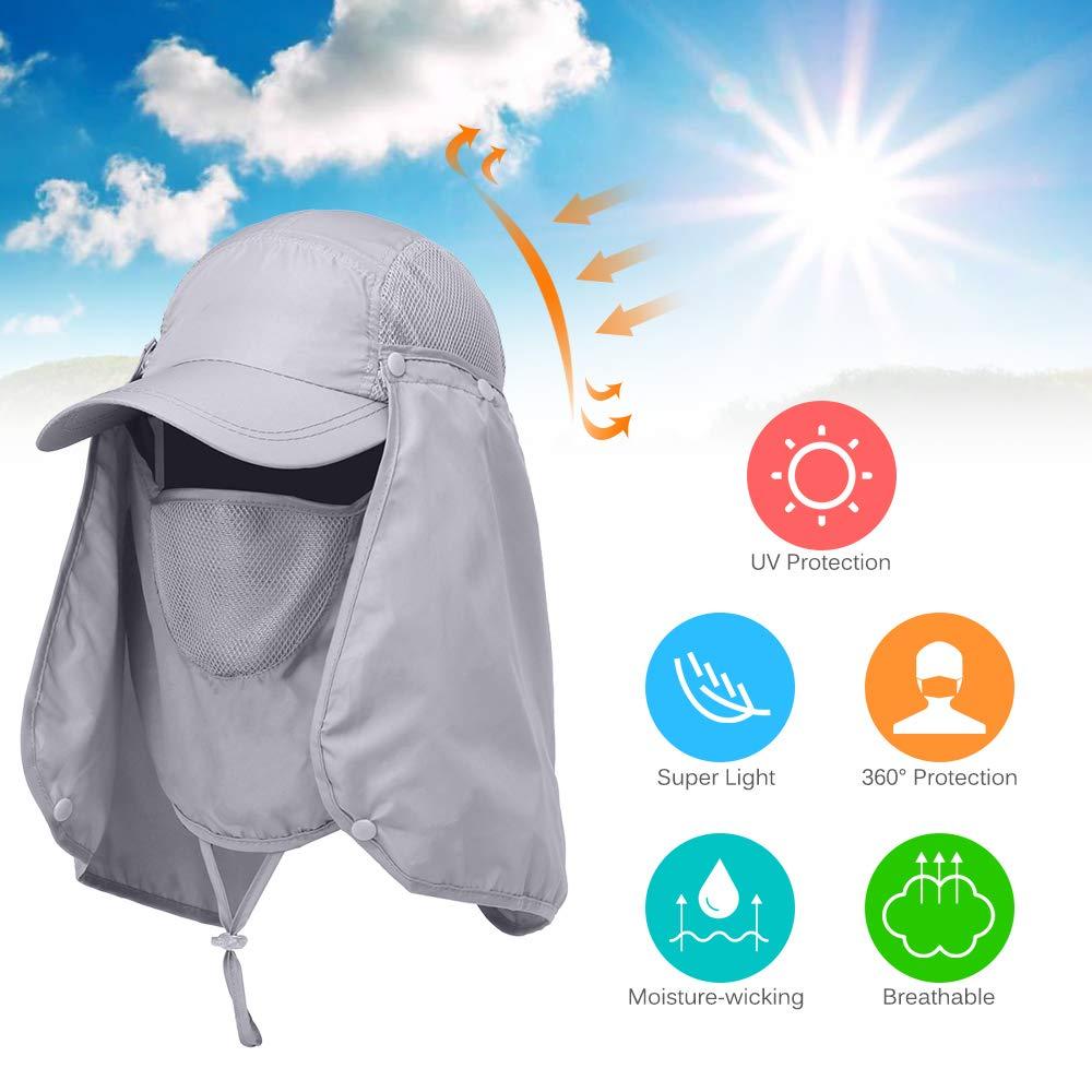 YMCHE Fishing Hat,360/°UV Protection Sun Hat Visor Cap Folding Removable Neck Face Mask Head Flap Cover