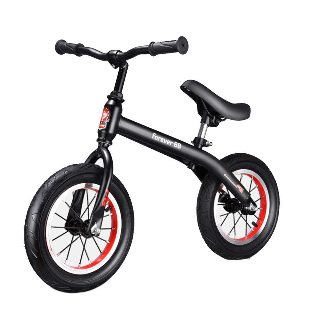 JYY Kid Balance Bike, Senza Pedali Push E Stride Walking Bicycle, età Compresa tra 2 E 6 Anni Altezza 80-120 Cm Ragazze E Ragazzi,nero-12''