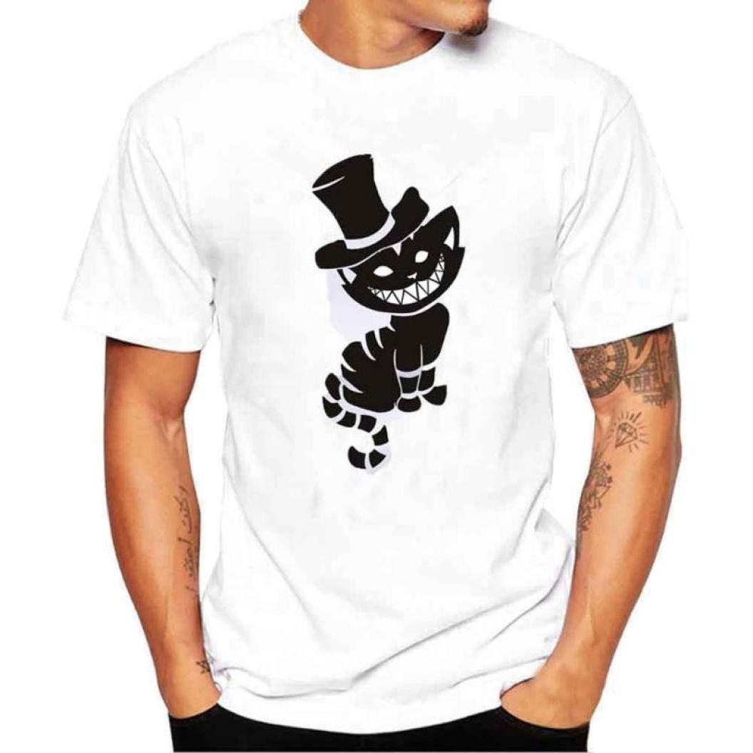 Douce Confortable Modal Homme T-Shirt de Grande Taille S~4XL Ba Zha Hei Hommes Noir Chats Impression T-Shirts Chemise /à Manches Courtes Casual T-Shirt Blouse T-Shirt Homme Blanc