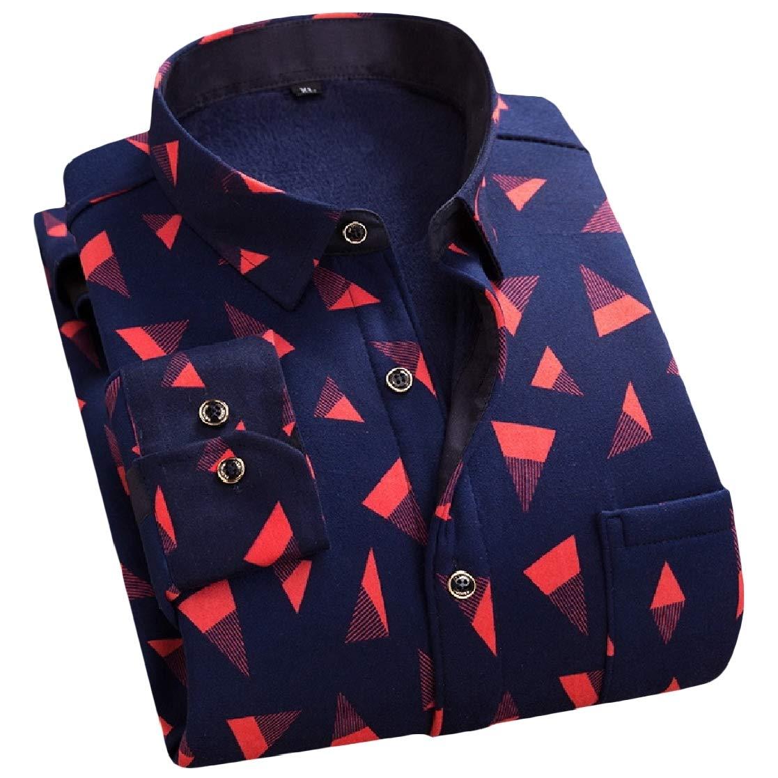 YUNY Mens Office Plaid Thickening Comfort Plus Velvet Dress Shirt Pattern15 2XL