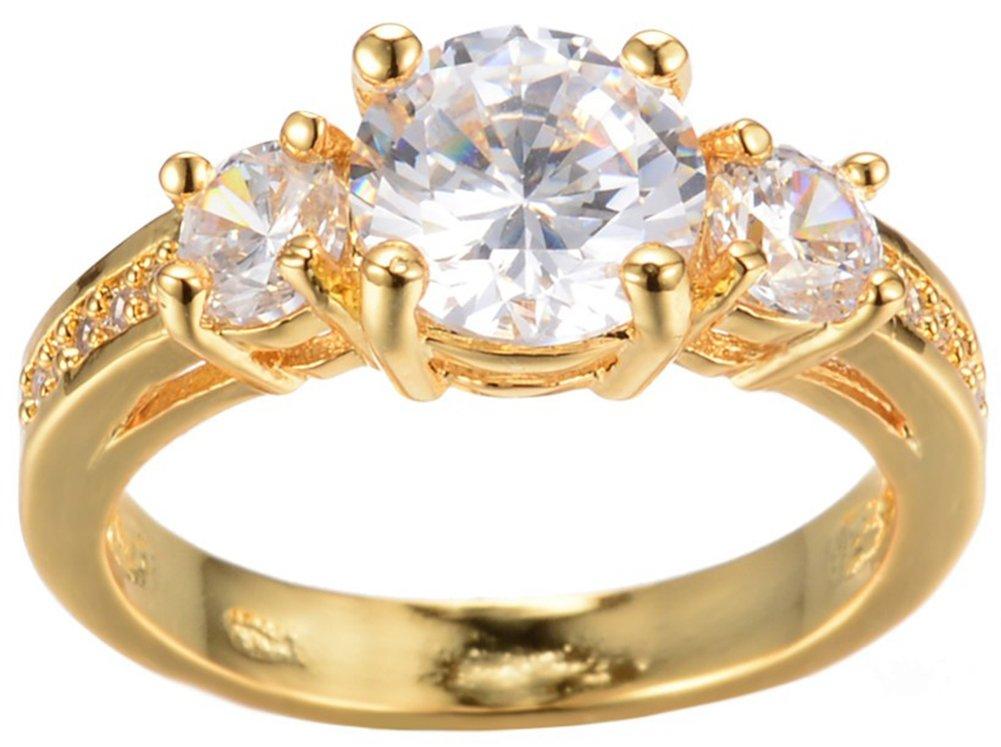 SaySure Yellow Gold Filled White Anniversary Wedding & Engagement Ring