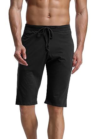 735805a473 Dolamen Homme Bas de Pyjama Shorts, Homme Coton sous-vêtements Caleçon  Boxer Trunk Bas