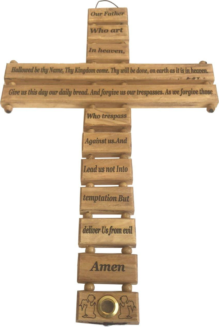 Holy Land Market Lord Prayer Olive wood Cross from Bethlehem with a Certificate and Lord prayer card (20 Inches)