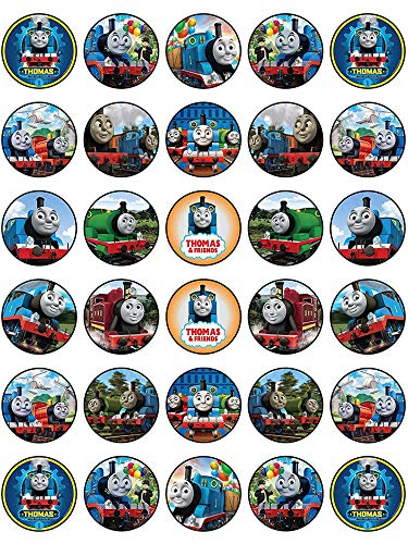 (30 x Edible Cupcake Toppers - Thomas The Tank Engine Themed Collection of Edible Cake Decorations | Uncut Edible Prints on Wafer Sheet)
