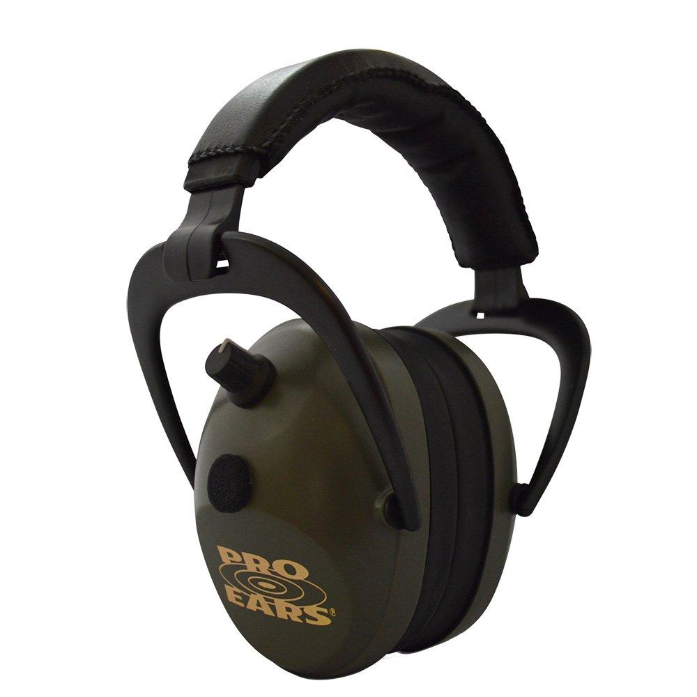 Pro Ears Gold II 26 - PEG2SMG - Electronic Hearing Protection & Amplification - Shooting Earmuff - NRR 26 - Electronic Hearing Protector Ear Muffs, Green by Pro Ears