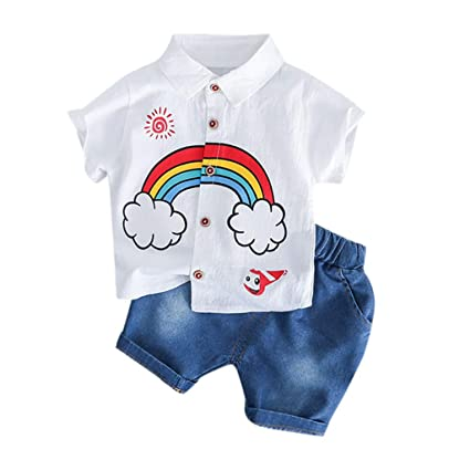 2pcs Baby Clothes Kids Boy Formal Top Shirt Shorts Outfits Set Casual Suit 1-8T