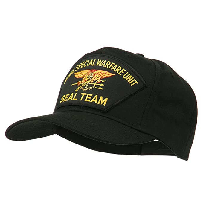 E4hats US Navy Seal Team Warfare Patch Cap - Black OSFM at Amazon ... 33468c20d65