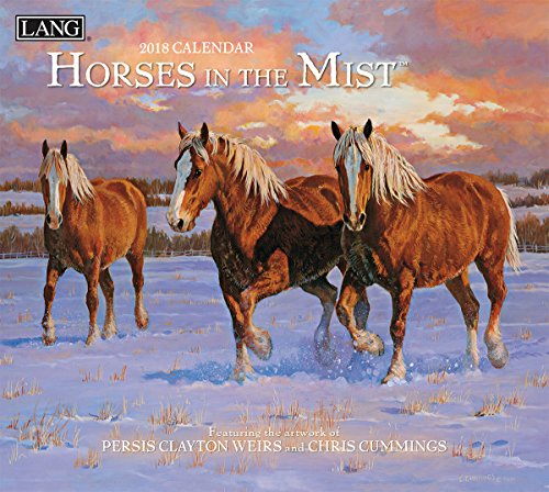 "LANG - 2018 Wall Calendar - ""Horses In The Mist"", Artwork by Persis Clayton Weiors & Chris Cummings - 12 Month - Open 13 3/8"" X 24"""