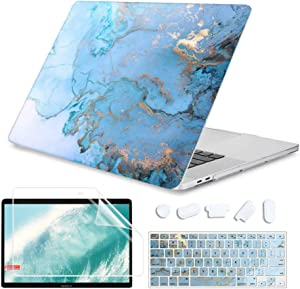 iCas 4 in 1 Laptop Case for Apple MacBook Pro 13 inch 2020 Release Model A2289 / A2251, Apple Laptop Accessories with Shell Case & Keyboard Cover & Screen Protector for 13 inch MacBook Pro, Marble 1