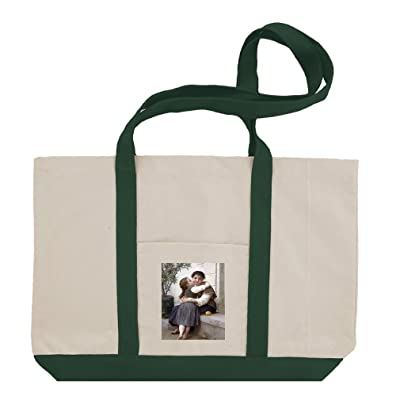 A Little Coaxing 1890 (Bouguereau) Cotton Canvas Boat Tote Bag Tote