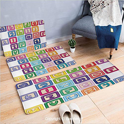 3 Piece Anti-skid mat for bathroom Rug Dining Room Home Bedroom,Educational,Colorful Lower Case Alphabet Blocks Cute Kids Font Abc Cartoon Style Typography Decorative,Multicolor,16x24/18x53/20x59 inch