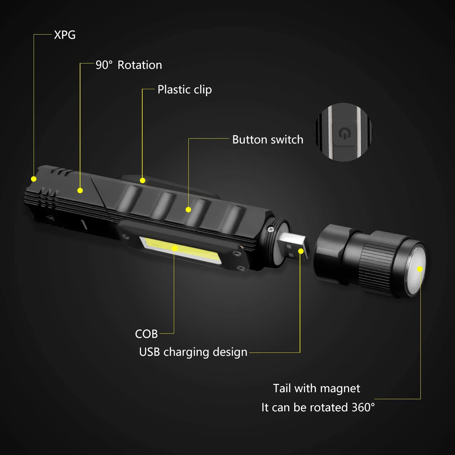 Emergency Euyee USB Rechargeable Flashlight Magnetic Tactical camping lights High Lumens -5 Modes 90 Degree Adjustable head lamp Include Batteries IPX65 Waterproof LED Flashlight for Hiking