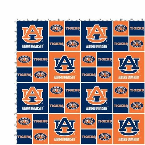 Ncaa Fabric - Auburn University Tigers Cotton Fabric, Burnt Orange & Navy Blue - Sold By the Yard