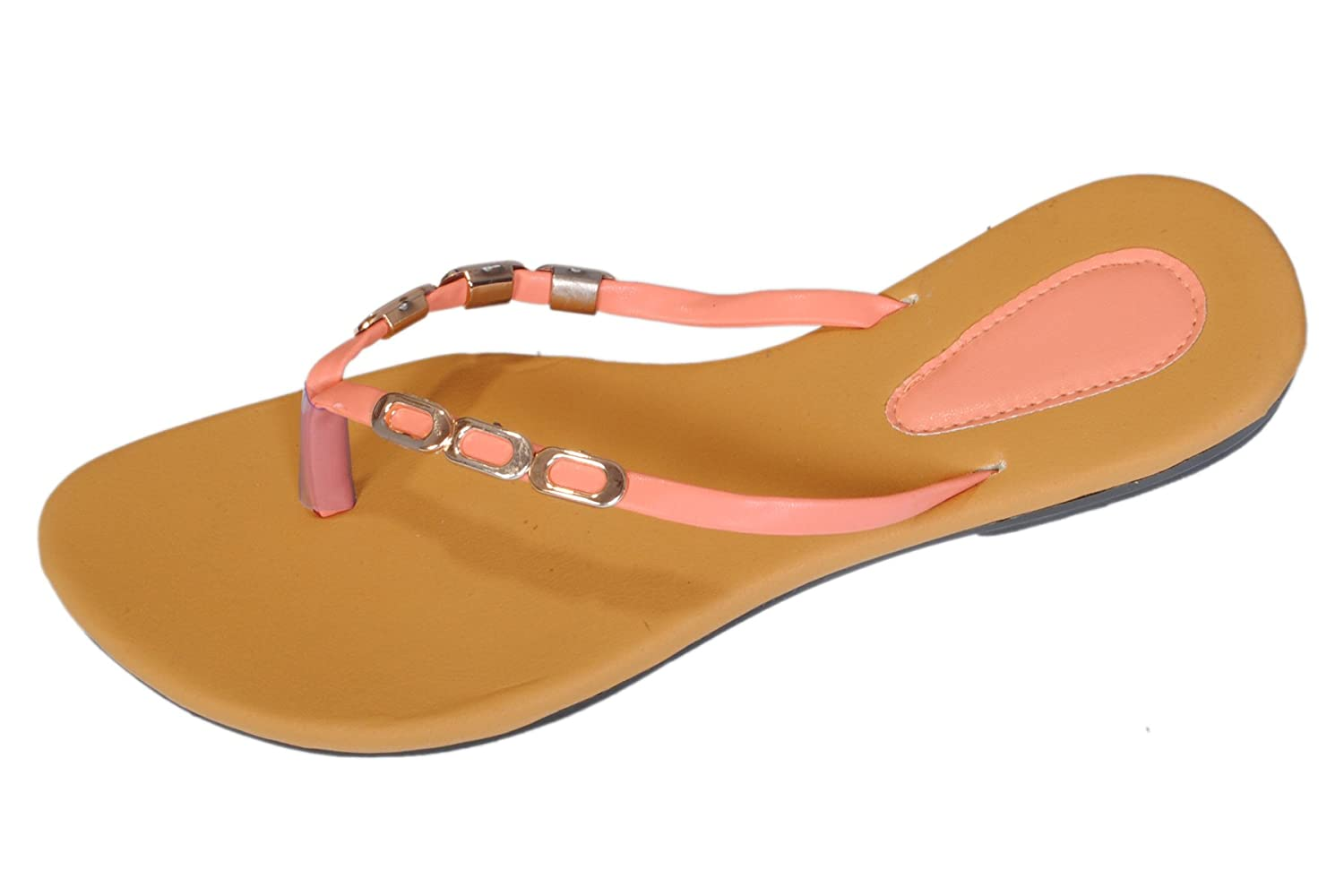 c50ed076a0506d RNJC Women s Brown Pink Flats Casual Comfort Sandal  Buy Online at Low  Prices in India - Amazon.in