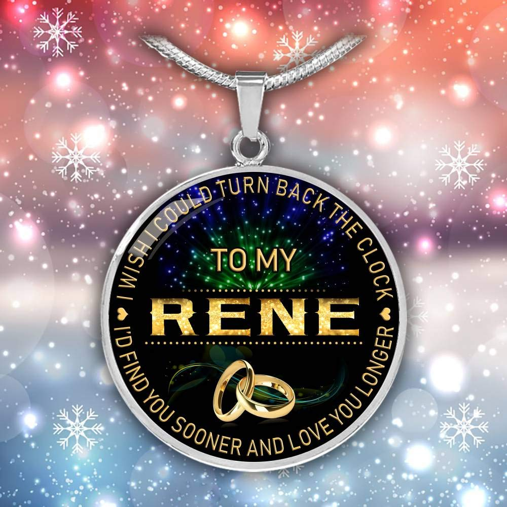 Funnyd Charm Necklace Jewelry Gift for Women 18K Gold Plated HusbandAndWife Gifts Necklace for Mom and Daughter to My Rene I Wish I Could Turn Back Clock I Will Find You Sooner