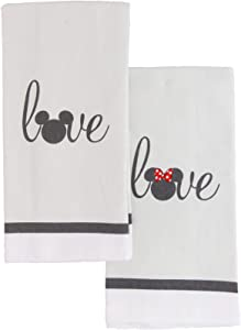 Disney 100% Cotton Kitchen Towels, 2pk-Soft and Absorbent Decorative Kitchen Towels Perfect for Drying Dishes and Hands-Machine Washable Kitchen Towel Set, 16 x 28 inches - Mickey and Minnie Love