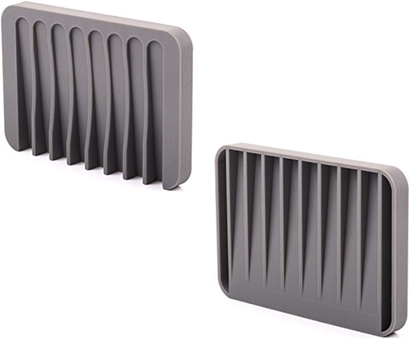ComSaf Silikon Seifenschale mit Ablauf Blau 3er-Set Selbstleerende Seifenablage Seifenhalter Schwammhalter f/ür Dusche//Badezimmer//K/üche