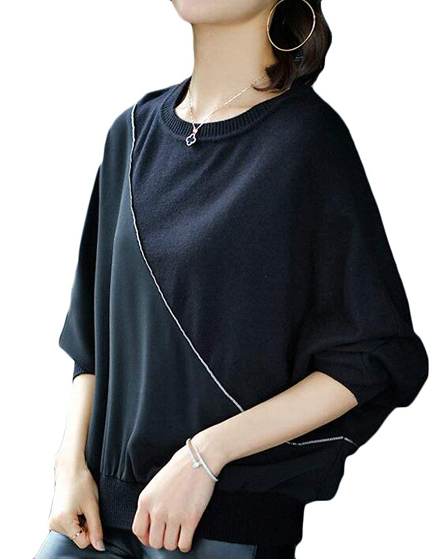 XXBlosom Womens Loose Crewneck Bat Sleeve Knitted Pullover Jumper Sweaters